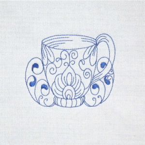 Redwork Teacup Kitchen Embroidery Design