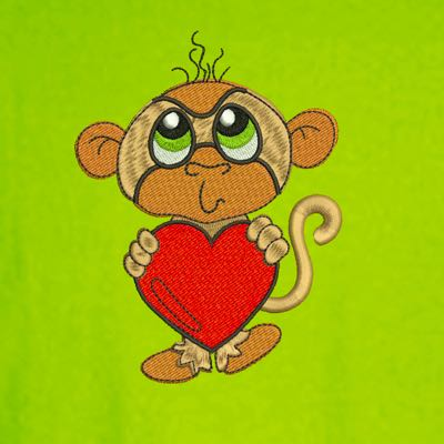 Boys Baby Toddler Monkey Valentine Heart Embroidery Design