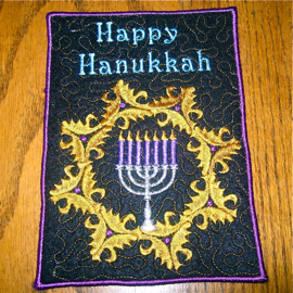 Happy Hanukkah mug rug or applique 5x7
