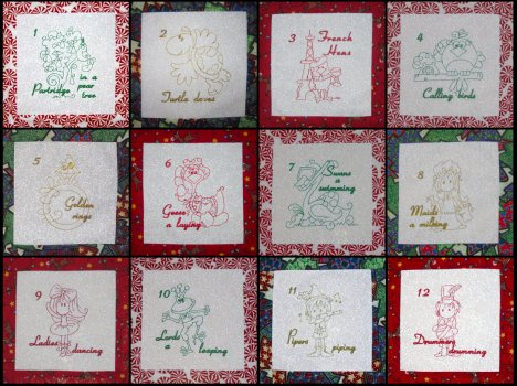 12 days of Christmas embroidery redwork designs whimsical