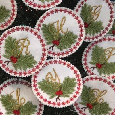 Pine Bough Alphabet Ornament Set