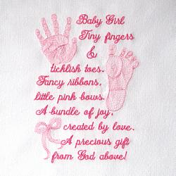 BABY GIRL PRINTS & POEM 5X7