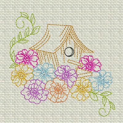 Birdhouse with Flowers Colorline