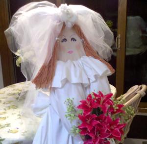 Faces blushing bride