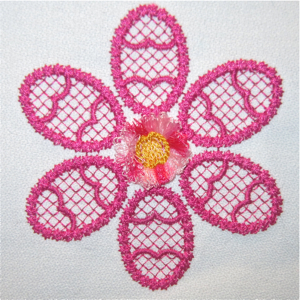 Spring Easter fringe flower accent embroidery