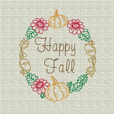 Fall Wreath Redwork