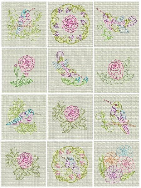 Hummingbird_redwork_flowers_embroidery_designs_Spring_ Flowers_ colorline