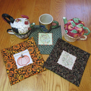 Autumn Coffee cozy Mug Rugs 4X4 Mini Set