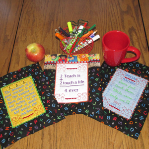 TEACHER COFFEE COZY MUG RUGS 5X7