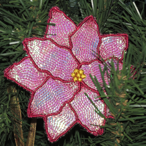 Poinsettia Fsl Mylar Free Standing Embroidery Gift Tag