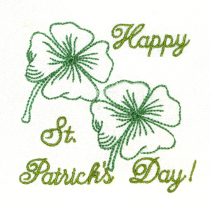 HAPPY ST. PATRICK'S DAY REDWORK 4X4