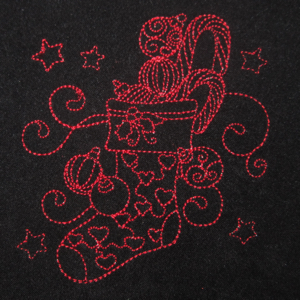REDWORK CHIRISTMAS STOCKING 4X4