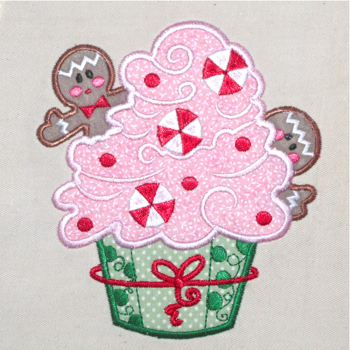 CHRISTMAS GINGER CUPCAKE APPLIQUE' 5X7
