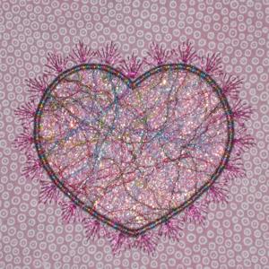 THREADS OF LOVE FIBER ART HEART APPLIQUE 4X4