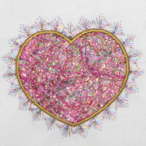 THREADS OF LOVE FIBER ART HEART APPLIQUE 4X4