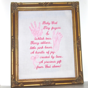 baby footprint handprint realistic girl poem embroidery design : baby quilt poem - Adamdwight.com