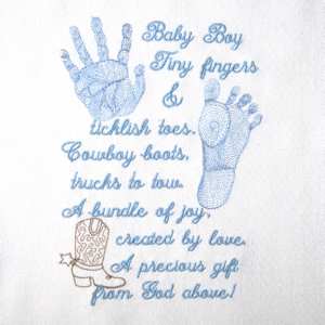Baby Footprint Handprint Realistic Boy Poem Embroidery Design