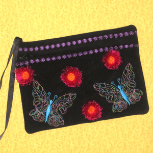 Butterfly Fringed Flower Clutch 5X7