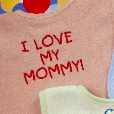 I love my mommy embroidery baby bib design