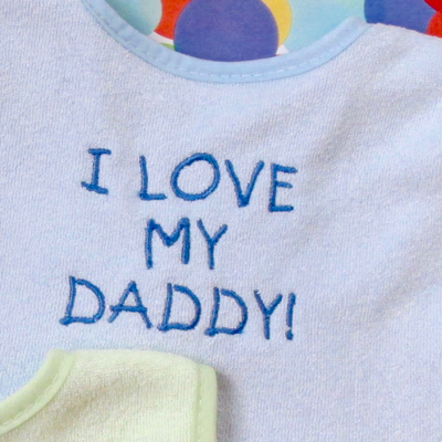 I love my daddy embroidery baby bib design