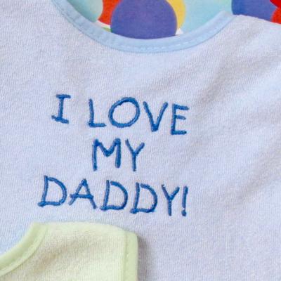 I love my daddy embroidery baby bib design