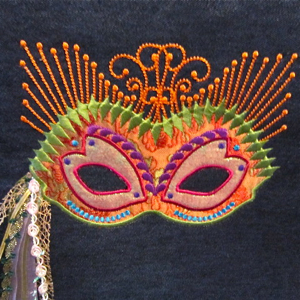 Mardi Gras Mask Exclusive Embroidery Applique Design