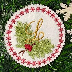 Pine Bough Alphabet and Ornament L