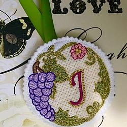 Luscious Grapes Monogram J and Gift Tag