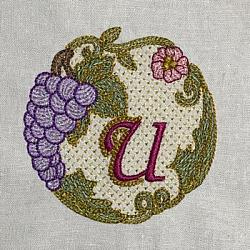 Luscious Grapes Monogram U and Gift Tag