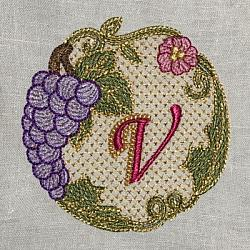 Luscious Grapes Monogram V and Gift Tag