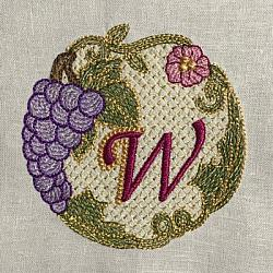 Luscious Grapes Monogram W and Gift Tag