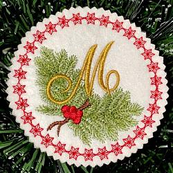 Pine Bough Alphabet and Ornament M