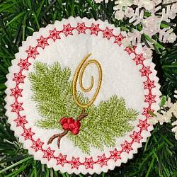 Pine Bough Alphabet and Ornament O