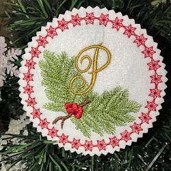 Pine Bough Alphabet and Ornament P