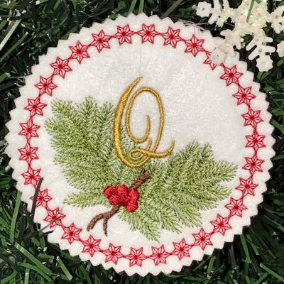 Monogram_Christmas_alphabet_Q_embroidery_Pine_Bough_Ornament_design