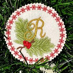 Pine Bough Alphabet and Ornament R