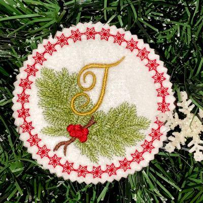 Monogram_Christmas_alphabet_T_embroidery_Pine_Bough_Ornament_design