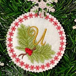 Pine Bough Alphabet and Ornament U