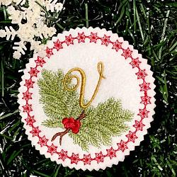 Pine Bough Alphabet and Ornament V