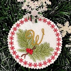 Pine Bough Alphabet and Ornament W