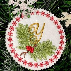 Pine Bough Alphabet and Ornament Y