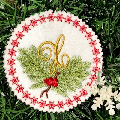 Pine Bough Alphabet and Ornament X