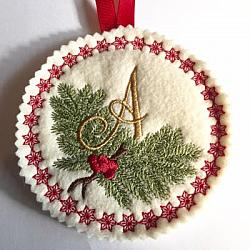 Pine Bough Alphabet and Ornament A