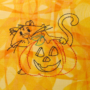 HALLOWEEN CAT AND PUMPKIN REDWORK 4X4