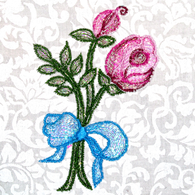 MYLAR ROSE BUD RIBBON
