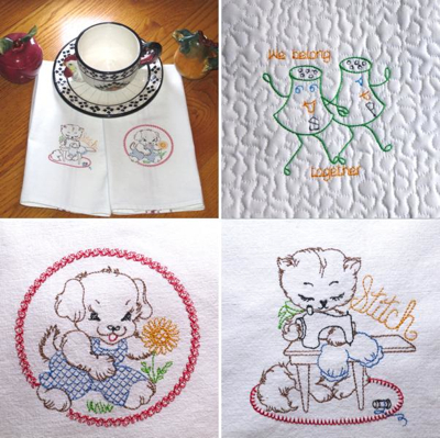 Vintage Embroidery Redwork Designs Sampler For Kitchen Linens Babies