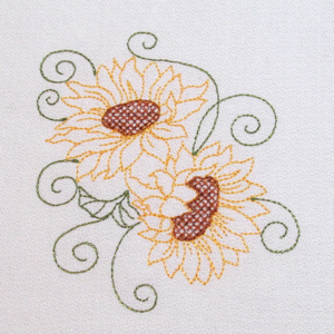 Sunflower Redwork Fall Autumn Embroidery Designs