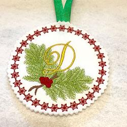 Pine Bough Alphabet and Ornament D