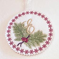 Pine Bough Alphabet and Ornament E