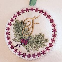 Pine Bough Alphabet and Ornament F